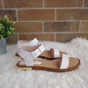 Stuart Weitzman Embellished Leather Flat Sandals